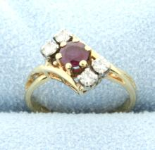 Ruby and Diamond 14K Yellow Gold Ring