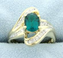 Lab Emerald & Diamond Ring