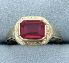 Vintage Ring with Synthetic Ruby