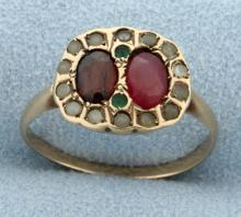 Antique Ruby, Garnet, Emerald, & Sapphire Ring