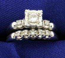 Diamond Wedding & Engagement Ring Set