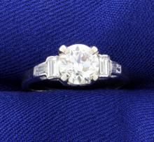 Vintage European Cut Diamond Ring set in Platinum Setting with Baguettes