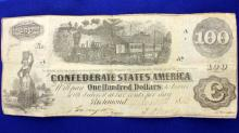 Civil War Confederate One Hundred Dollar Bill