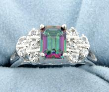 Genuine Mystic topaz and white sapphire ring