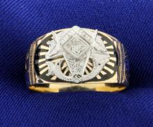 Vintage Masonic Diamond Band