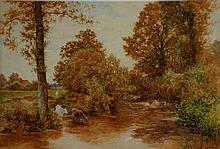 Thomas J. Watson - cattle watering, an autumnal sc