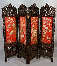 A fine Chinese hardwood four-fold screen the frame
