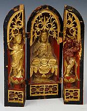 A Chinese red and black lacquer altar piece the to