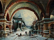 Aug. Sigen ? - a winter scene with monks beneath v