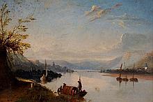 European School, mid 19th Century - a lake scene w