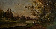 C.B.Pitt - a river scene, oil on board, 22cm x 41c