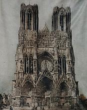 Camille Fonce - Rheims Cathedral, coloured etching