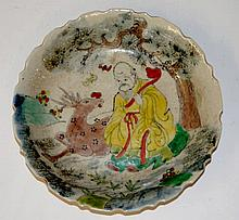 A Chinese shaped circular dish polychrome decorate