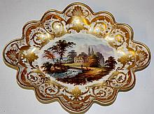 A Derby shaped oval dish finely painted to the cen