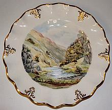 A Royal Crown Derby shaped circular plate painted