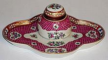 A Samson porcelain quatrefoil-shaped inkstand with