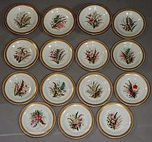 A Worcester dessert service painted with floral sp