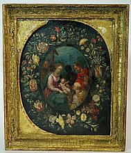 Jan Van Den Hecke - Garland of flowers, the oval c