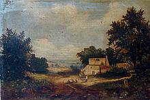 J.W.Mattheus ? - Shepherd on a path with cottage b