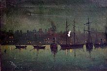 Sidney Barker - On The River Mersey, an evening sc