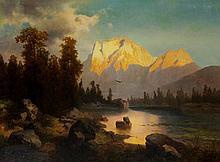 J. J. Roma ? - sunlit mountainous landscape with w