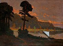 Jelge Brandes - a wooded lake scene, evening, oil