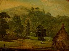 English School, 18th Century  - thatched cottage a