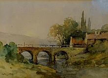 Adam Knight  - Bridge and cottages, watercolour, s