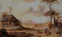 A pair of watercolours in 17th Century style, woma