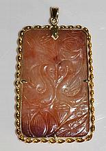 A Chinese gold coloured metal mounted rectangular