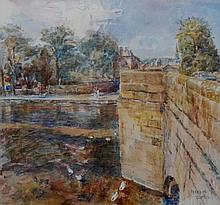 George Butler -  Bakewell Bridge, watercolour and