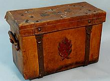 A Chinese leather two handled portable trunk for a
