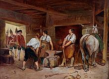 Ernest Crofts A.R.A (1847-1911)  - Red Coats In Th