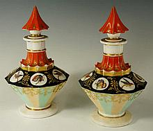 A pair of continental porcelain faceted scent bott