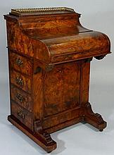 A Victorian burr walnut veneered pop-up Davenport