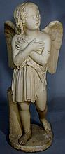 A large plaster composite figure of an angel her a
