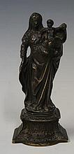 A bronze figure of Madonna and Child on acanthus c