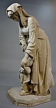 A 19th Century white marble figure of a mother and