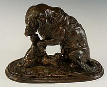 A bronzed spelter group of a bitch and two pups, 2