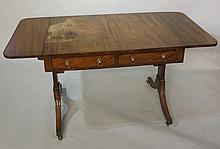 A mahogany sofa table, ebony strung throughout wit