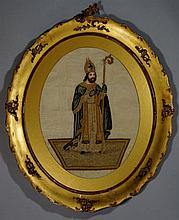A 19th Century French needlework picture of a Sain