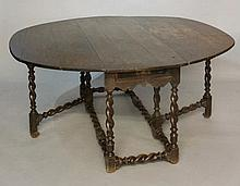 An oak gateleg table in late 17th Century style, t
