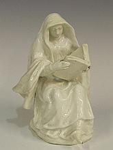 A rare Bow white porcelain figure of a woman