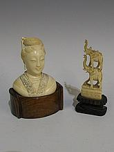 A Sarawak carved ivory bust of a young woman on