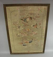 A large silk panel finely worked to the centre