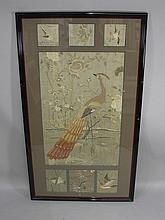 A pair of silk panels each worked with large panel