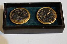 A pair of Japanese shakudo mixed metal and gold