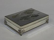 A Japanese silver rectangular cigarette box the