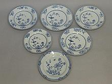 A set of five Chinese blue and white circular