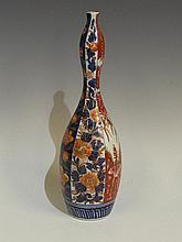 A Japanese Imari slender double gourd shaped vase